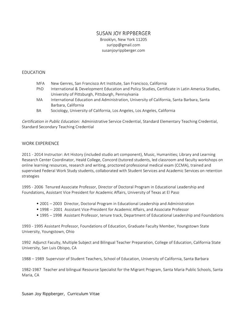 Susan Joy Rippberger Résumé & Curriculum Vitae