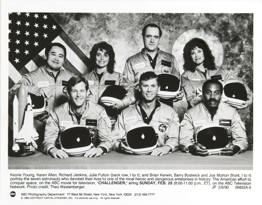 "This is a photo from the ABC movie for television, ""Challenger"" that aired in 1990. The 'halo' around the Actress with a wig playing one of the Astronauts was not in the original photo."