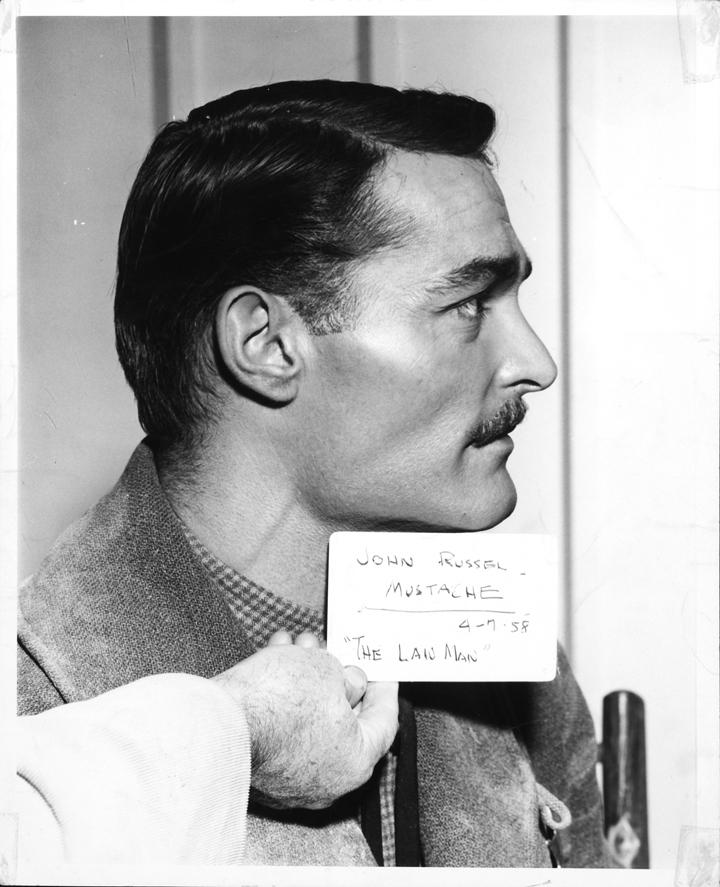 John Russel with mustache made for his role in 'The Lawman' in 1958